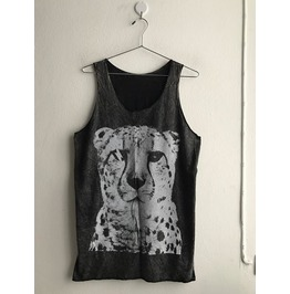Leopard Animal Punk Rock Stone Wash Vest Tank Top M