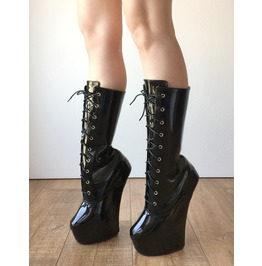 Myli Heavy Hoof Sole Heelless Mid Calf Boots Made To Order Black Patent