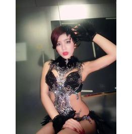 """Sexy Goth """"Black Swan"""" Performance Or Club Bodysuit"""