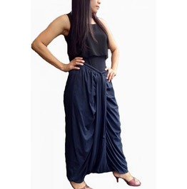 Navy Blue Drop Crotch Harem Pants,Asymmetrical In Cotton Jersey Pants P46