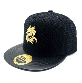 3 Color Adjustable Dragon Snapback Flat Hat,Metal Hip Hop Baseball Caps