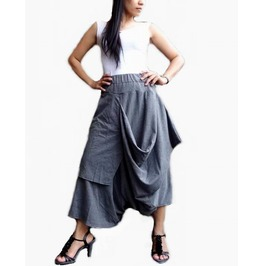 Apocalyptic Dusty Gray Asymmetrical Drop Crotch Pants,In Cotton Blend Pd87