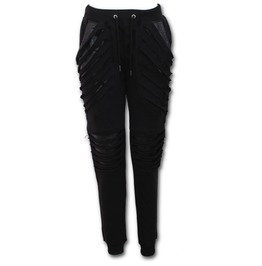 Ladies Joggers Slashed With Pu Leather Inserts