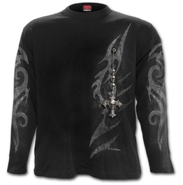 Tribal Chain Longsleeve T Shirt Black