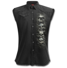 Camo Skull Sleeveless Stone Washed Worker Black
