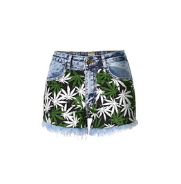 Women's Galle Leaf Printed Denim Shorts