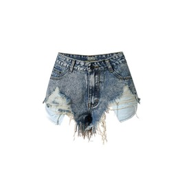Women's High Waisted Distressed Cut Off Ripped Denim Shorts