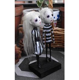 "Ooak Gothic Dolls ""Le Fanu Twins"". Paper Mache And Paper Clay Art Dolls."