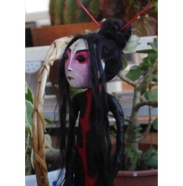 Akame The Chinese Ghost One Of A Kind Art Doll. Paper Maché Goth Doll.