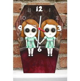 Grady Twins Wall Clock. Coffin Shape Clock. The Shining Ghost Girls.