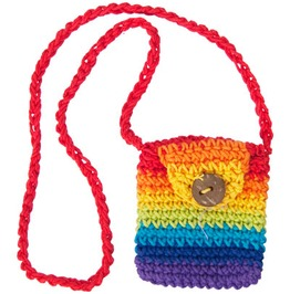Cotton Crocheted In Rainbow Colors Mini Treasure Bag Necklace