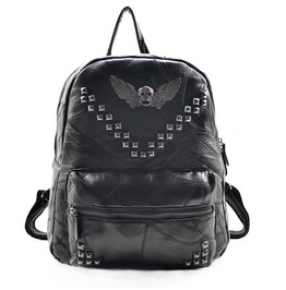 Genuine Hells Skull Riveted Studded Leather Backpack Biker Punk Goth
