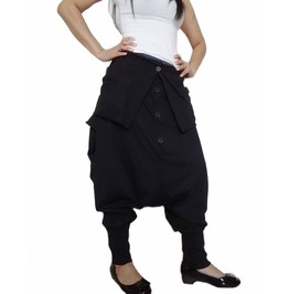 Black Unisex Ninja Gaucho Pants Drop Crotch Fashion Trousers