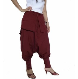 Red Maroon Unisex Ninja Gaucho Pants Drop Crotch Fashion Trousers