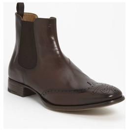 Handmade Men Brown Chelsea Leather Boot, Men Wingtip Brogue Chelsea Boot