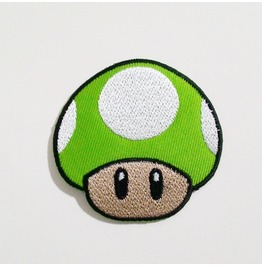 Green Mushroom Game Embroidered Iron On Patch.