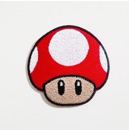 Red Mushroom Game Embroidered Iron On Patch.