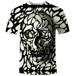 3 D Skull Print Wh Ite Black T Shirt Top S 5 Xl