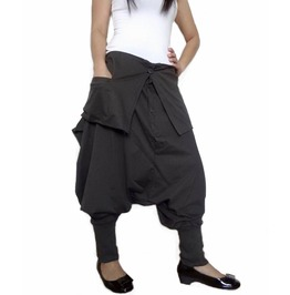 Charcoal Gray Unisex Ninja Gaucho Pants Drop Crotch Fashion Trousers