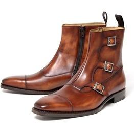 Handmade Men Brown Triple Monk Boots, Men Cap Tow Side Zipper Boot Men Boot
