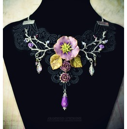 Gothic Witchy Victorian Choker In Black Guipure, Beads, Flowers And Leaves