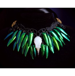 Gothic Victorian Choker, Black Guipure, Real Bird Skull, Green Beetle Wings