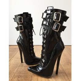 Maid's Ii 18cm Stiletto Fetish Boots 2 Buckle Strap Patent Black