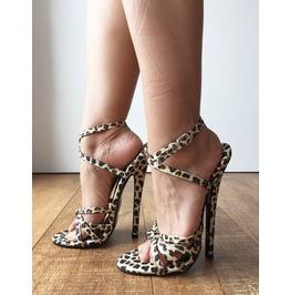Serina 18cm Stiletto Fetish Sandal Sexy Mistress Tie Strap Cheetah Leopard
