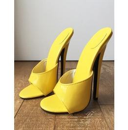 6d8cf8f502c 18 Mule Sexy Mistress Heel Stiletto Fetish Slipper Slides Mule Yellow Patent