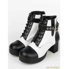 Black And White Gothic Punk Pu Leather Buckle Belt Ankle Boots 8580