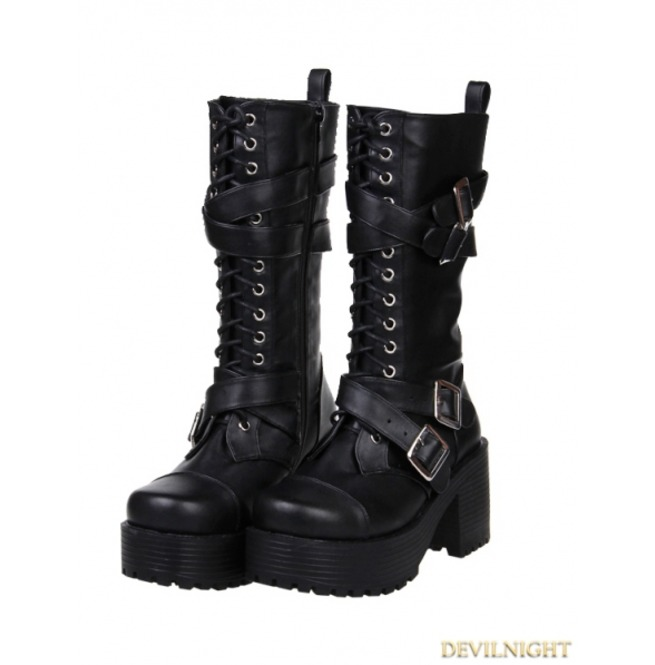Black Gothic Punk Buckle Belt Lace Up Pu Leather Chunky Heel Boots