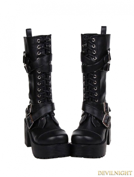 rebelsmarket_black_gothic_punk_buckle_belt_lace_up_pu_leather_chunky_heel_boots_7002_boots_3.jpg