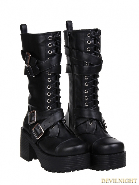 rebelsmarket_black_gothic_punk_buckle_belt_lace_up_pu_leather_chunky_heel_boots_7002_boots_2.jpg