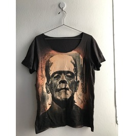 Frankenstein Monster Punk Rock Band Flyer Fashion T Shirt Low Cut M