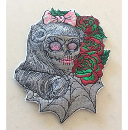 Embroidered Rockabilly Girl Skull Patch Iron/Sew On