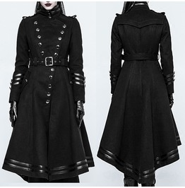 Steampunk Military Uniform Women Long Coat Gothic Handsome Women Black Long