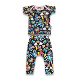 Baby Two Piece Unicorns And Rainbows Outfit
