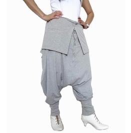 Light Gray Unisex Ninja Gaucho Pants Drop Crotch Fashion Trousers