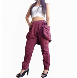 Red Maroon Trouser Apocalyptic Style Harem Pants P040