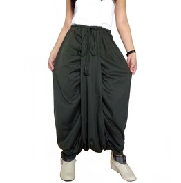 Green Drop Crotch Harem Pants,Asymmetrical In Cotton Jersey Pants P46