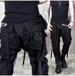Wrinkled Cargo Pockets Webbing Black Pants 153