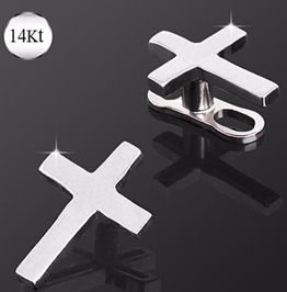 14 Kt White Gold Cross Dermal Top Jewelry