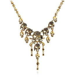 Hip Hop Club Women Alloy Gold Silver Plated Skull Pendant Necklace