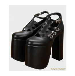 Black Gothic Pu Leather High Heel Shoes 8216