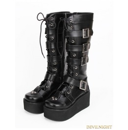 Black Gothic Punk Pu Lace Up Belt Platform Knee Boots 9708 B