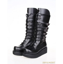 Black Gothic Pu Leather Lace Up Belt Platform Boots 8365