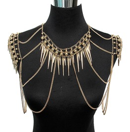 Punk Rock Body Jewelry Multi Layer Tassel Spikes Body Chain Necklace