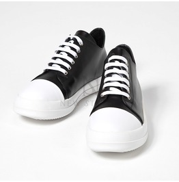 Black And White Contrast Lace Up Low Top Leather Sneakers 370