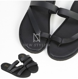 Black Leather Band Slippers 379