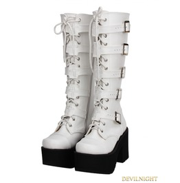 White Gothic Punk Pu Leather Lace Up Belt High Heel Knee Boots 7008